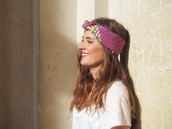 Headband rose et jaune avec motifs